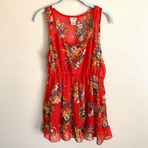 Daytrip sleeveless sheer floral tunic